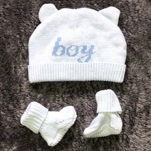 Baby Boys Bear Ears 'Boy' Hat And Booties Set